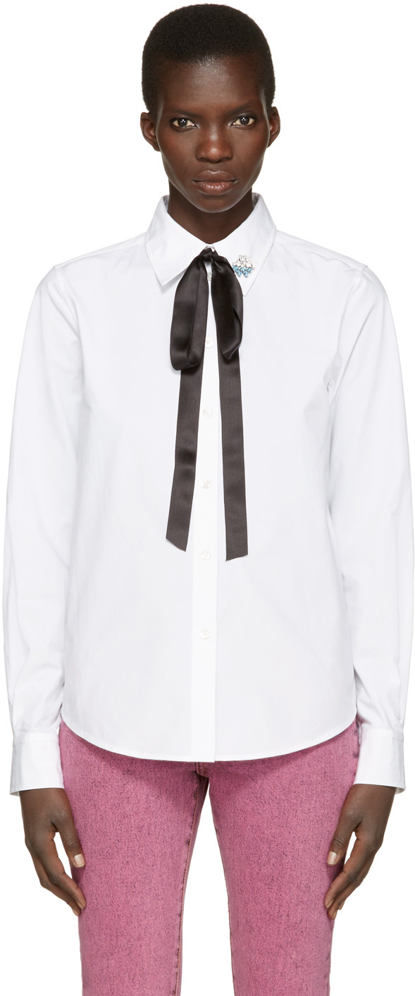 MARC JACOBS Cotton Shirt With Bow And Collar Detail, White