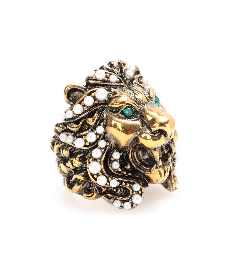 Lion Head Ring With Crystals in Green