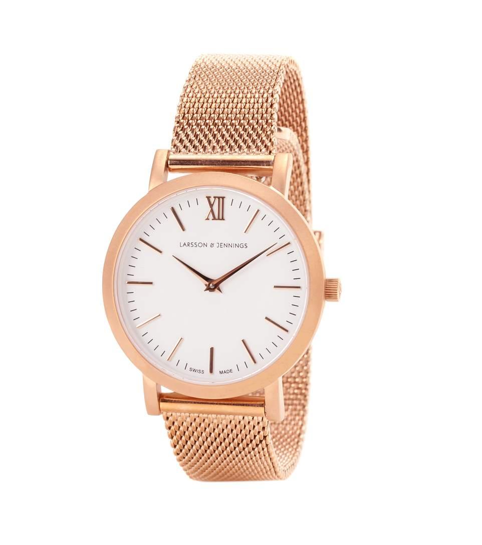 'Lugano' Mesh Strap Watch, 33Mm in Rose Gold/ White