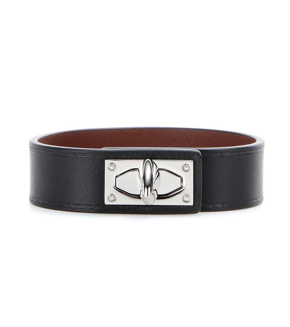 Shark Tooth Leather Bracelet, Black