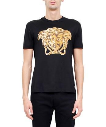 VERSACE Medusa Printed Cotton Jersey T-Shirt, Black/Gold in Nero ...