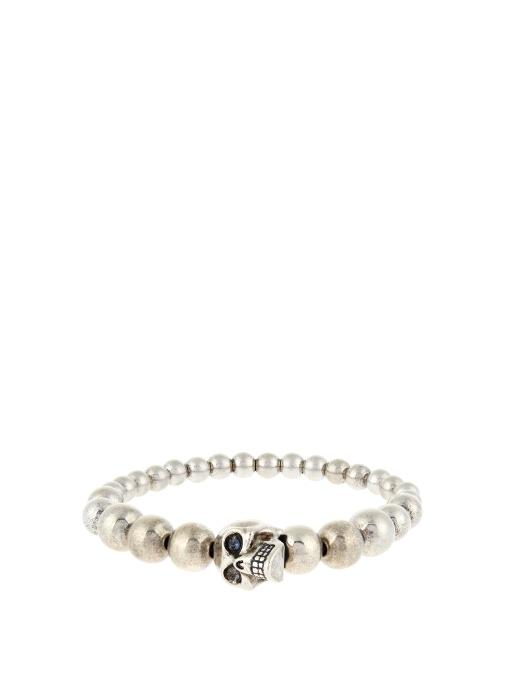 Silver Antiqued Beaded Skull Bracelet