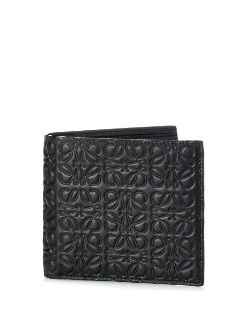 LOEWE Logo-Debossed Leather Bi-Fold Wallet, Black