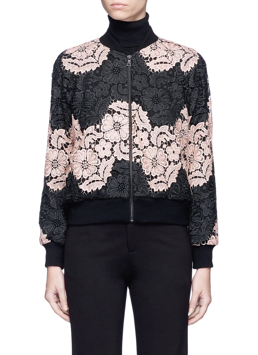 ALICE AND OLIVIA 'Felisa' Floral Guipure Lace Bomber Jacket, Black/Nude Pink