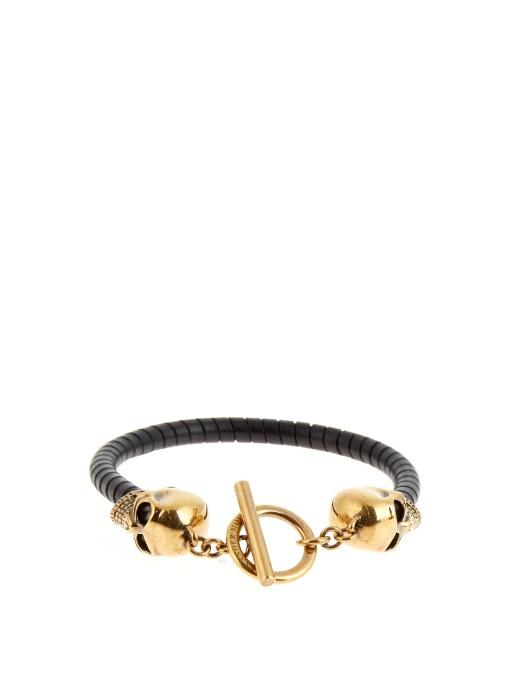 Braided Leather Bracelet With Skull, Black