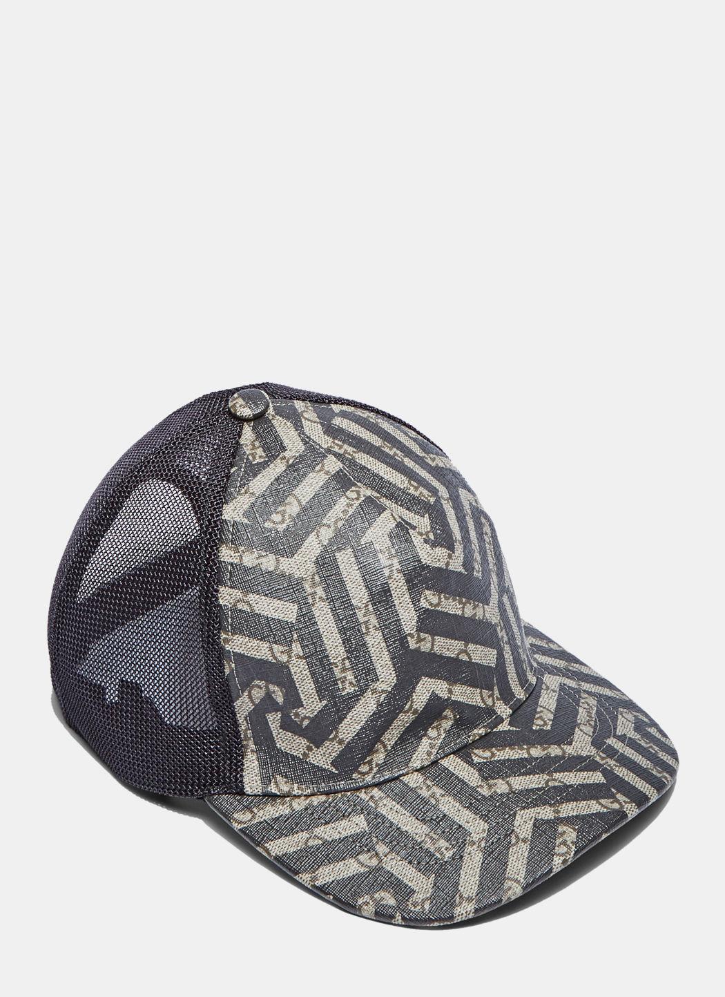 fa2e04974dd1 Gucci Men S Geometric Print 6 Panel Baseball Cap In Beige And Black In  Beige Nero