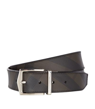BURBERRY 30Mm Check Printed Faux Leather Belt, Brown/Burgundy in Black
