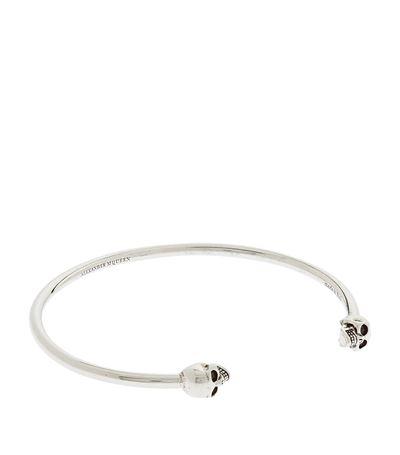 ALEXANDER MCQUEEN Silver Thin Twin Skull Bracelet, Silver-Tone
