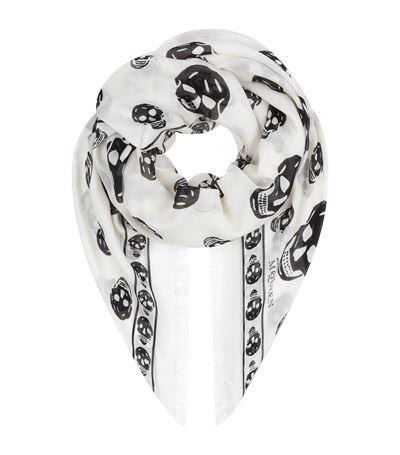 ALEXANDER MCQUEEN Off White Skull-Print Silk Chiffon Scarf, Nude & Neutrals