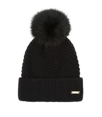 Fur Pom Pom Wool Cashmere Beanie Hat in Black