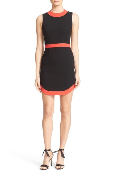 ALICE AND OLIVIA Kathleen Curved Hem Sheath Dress in Black/ Poppy