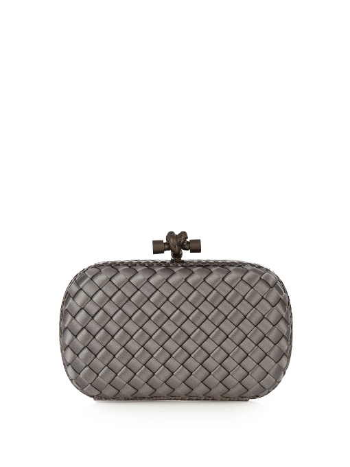 Intreccio Knot Satin & Genuine Snakeskin Clutch - Grey in Charcoal-Grey
