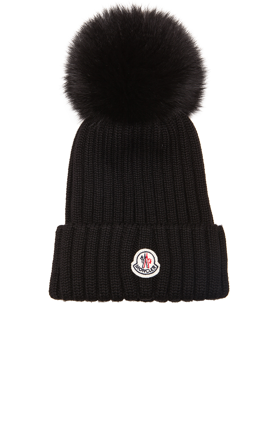 Genuine Fox Fur Pom Wool Beanie - Black