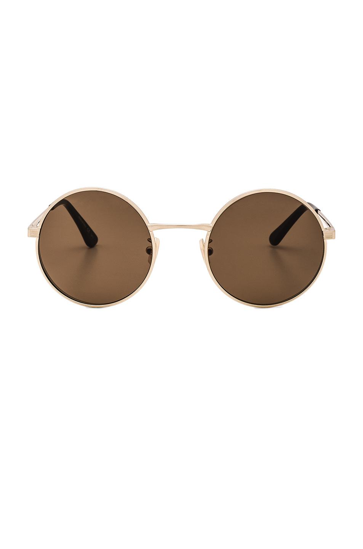 Sl 136 Zero 52Mm Round Sunglasses, Antique Gold & Brown