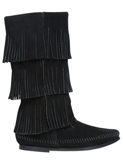 Layered Fringe Suede Boots, Black