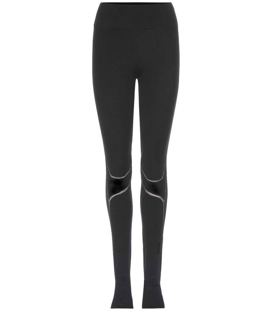 Fine Knit Tight Wool-Blend Leggings in Black