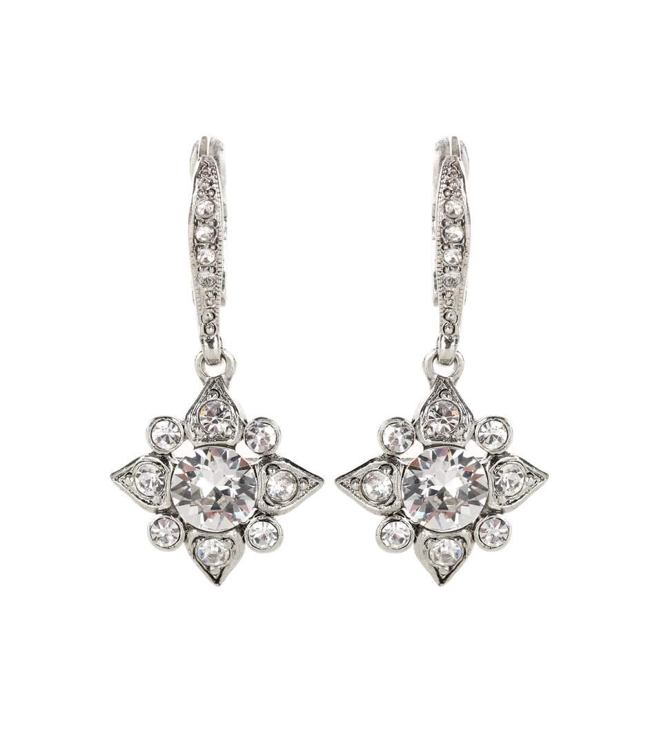 Swarovski Crystal-Embellished Earrings in Silver