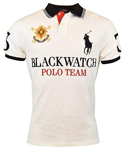 POLO RALPH LAUREN Men\u0027S Custom-Fit Blackwatch Polo, White/Black