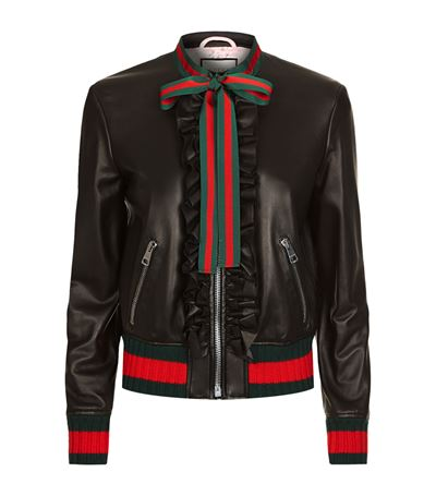 Embellished Nappa Leather Bomber Jacket in Black