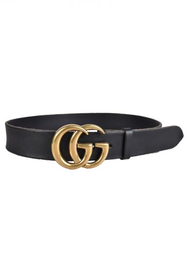 Reversible Leather Belt With Double G Buckle, Nero