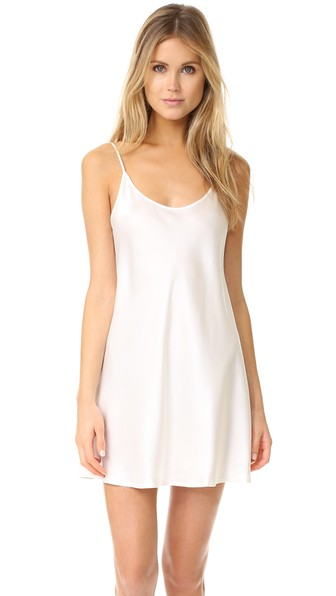 Silk Scoop-Neck Chemise in White