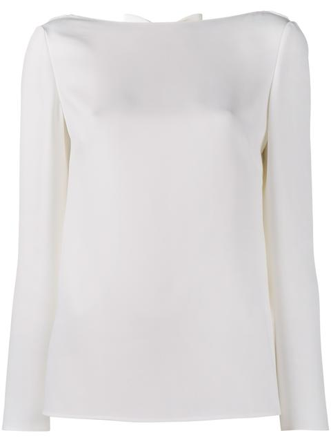 Bow Cowl-Back Silk Cady Top, White