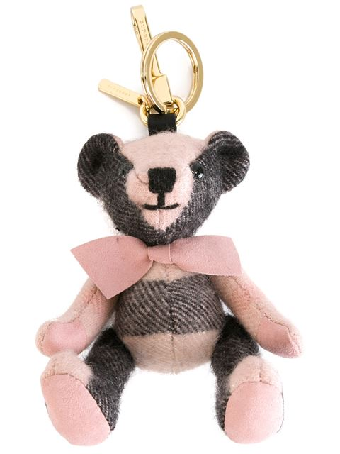 Thomas Bear Check Cashmere Bag Charm, Ash Rose in Pink