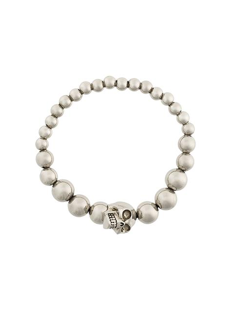 Silver Antiqued Beaded Skull Bracelet in Metallic