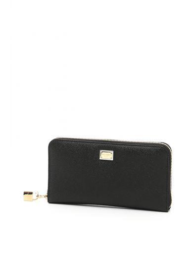 DOLCE & GABBANA Dauphine Calfskin Zip-Around Wallet, Nero Rosa Chiaro|Nero