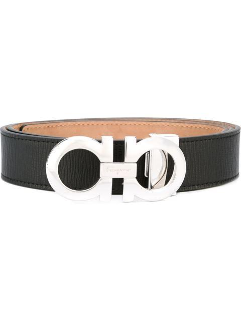 Double-Gancini-Buckle Reversible Leather Belt - Black Size 44