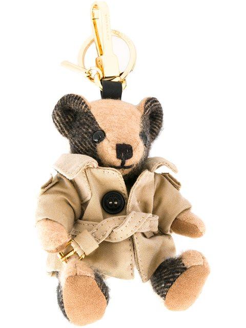 Thomas Bear Trench-Coat Cashmere Keyring, Brown