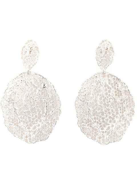 AURELIE BIDERMANN Vintage Lace Clip-On Earrings in Metallic
