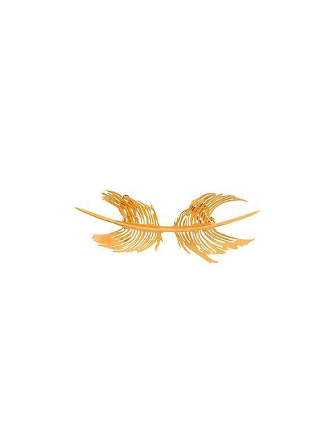 Feather Cast Brooch, Metallic