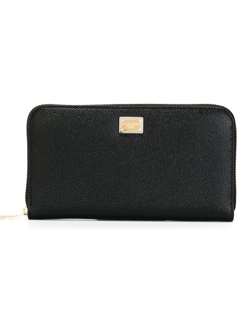 3301 Continental Leather Zip Wallet in Black