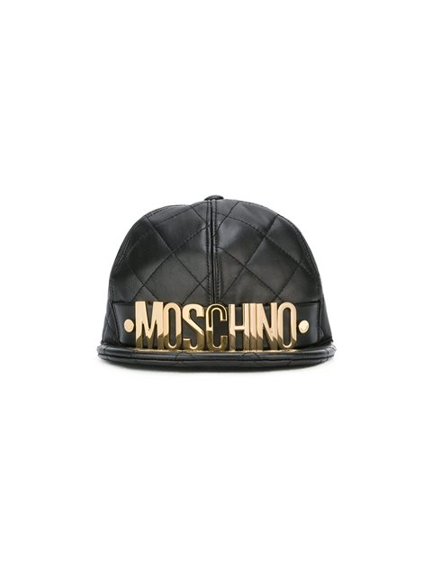 MOSCHINO Quilted Leather Baseball Cap - Black, Fantasy Print Black