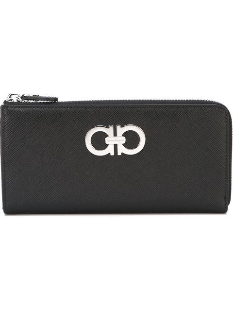 Gancini Zip Around Wallet, Black