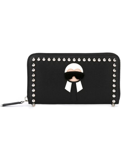 Karlito Continental Zip Wallet In Elite Calf Leather And Studs in Black