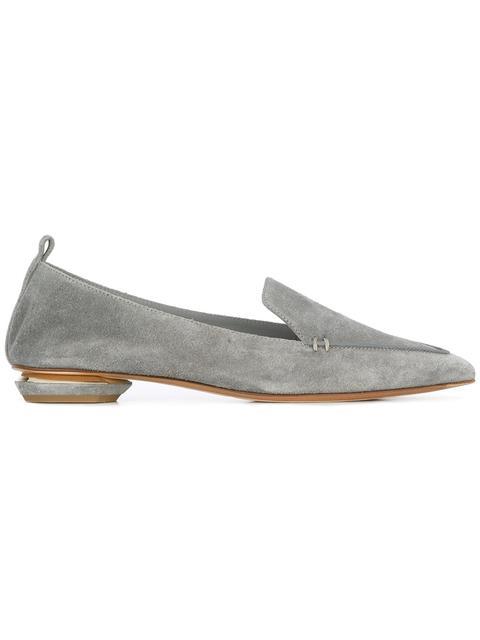 Beya Suede Point-Toe Loafer, Dusty Pink, Grey