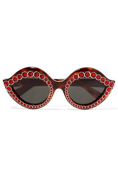 Women'S Crystal Cat Eye Tortoiseshell Sunglasses In Brown, Brown Pattern