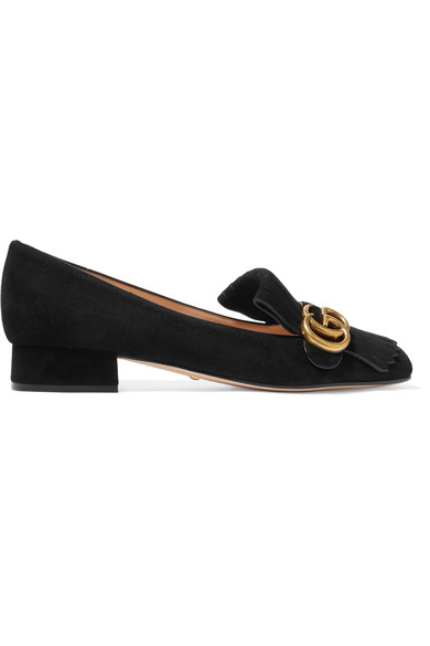 Marmont Fringed Logo-Embellished Suede Loafers, Black