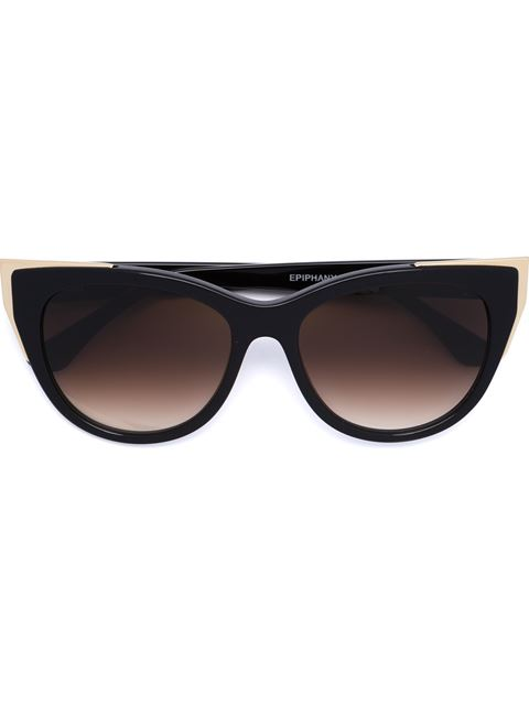 THIERRY LASRY EPIPHANY CAPPED CAT-EYE SUNGLASSES, BLACK/GOLD