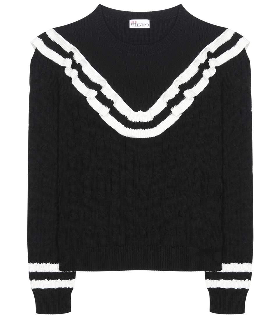 RED VALENTINO Ruffle-Trimmed Striped Cotton Sweater in Eero  143ecca03