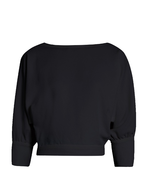 Sabina Collared Merino Wool Sweater, Black