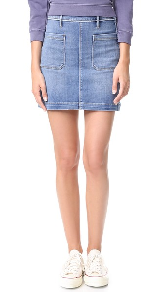 Patch Pocket Skirt in Blue Frame Denim Discount Authentic Online Free Shipping Get Authentic Sale Very Cheap hiuNw15H