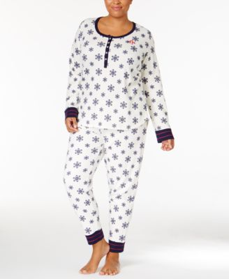 653cca8eee0 Tommy Hilfiger Plus Size Thermal Henley Top And Pants Pajama Set In Ivory  Snowflakes