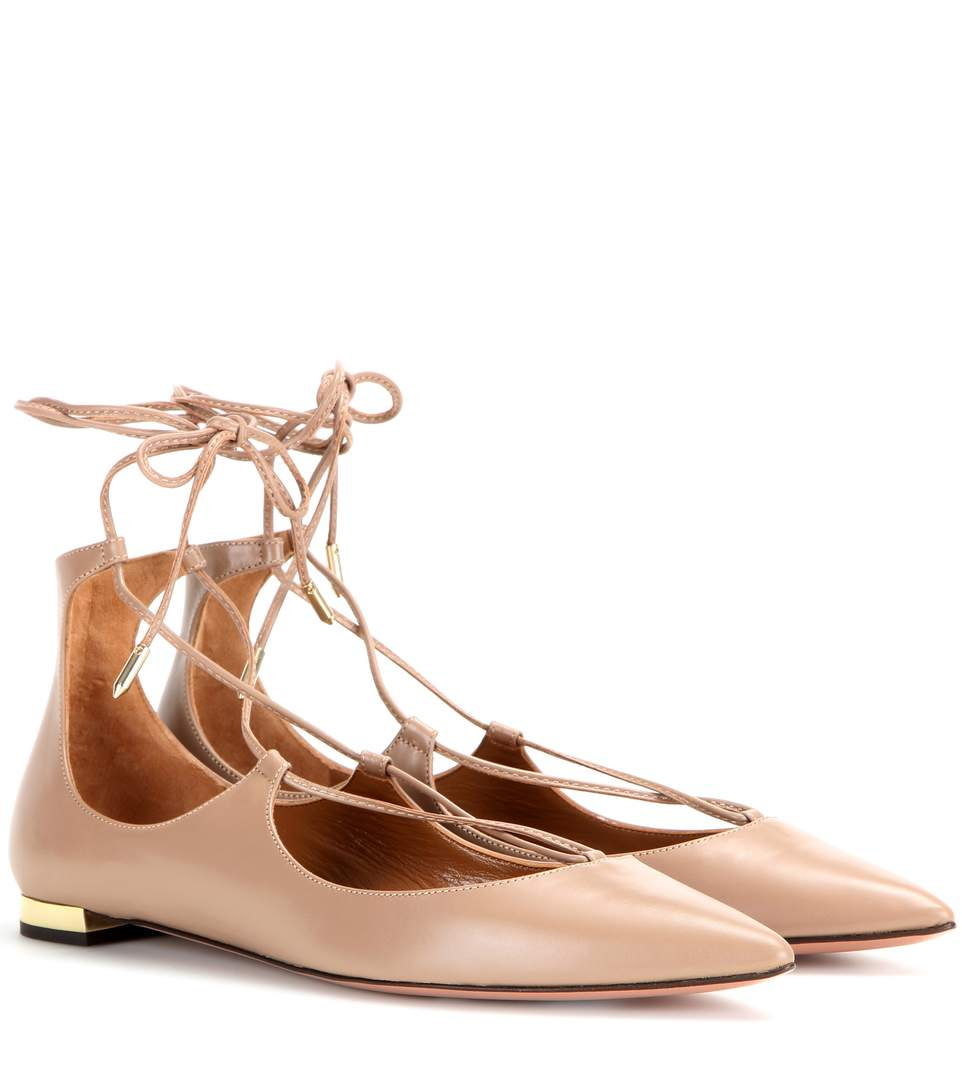 Christy Lace-Up Pointed-Toe Flat, Biscotto in Beige