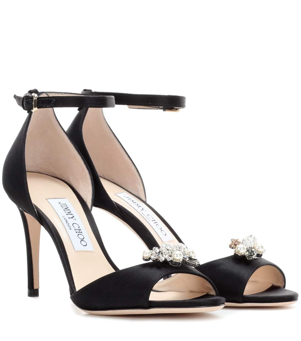 Tori 85 Satin Sandals With Crystal-Embellished Clips, Llack