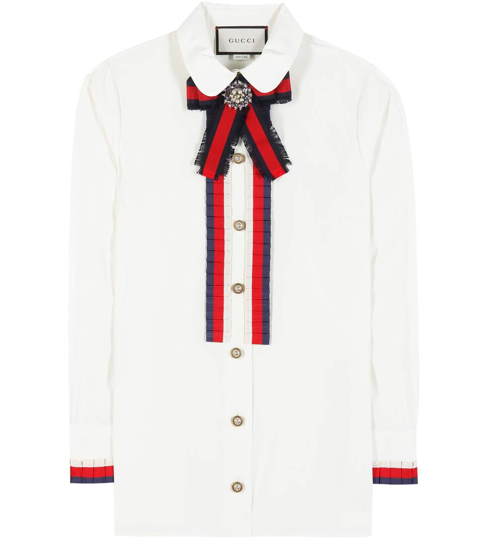 Embellished Grosgrain-Trimmed Cotton-Poplin Shirt in White