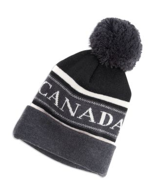 ab845cff5d5 CANADA GOOSE POM-POM-EMBELLISHED LOGO WOOL HAT ...