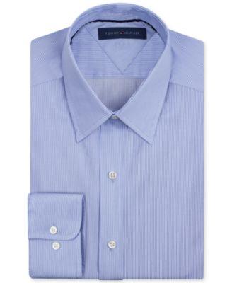 21333397d Tommy Hilfiger Men'S Athletic Fit Performance Stretch Th Flex Collar  Fineline Stripe Dress Shirt In Light
